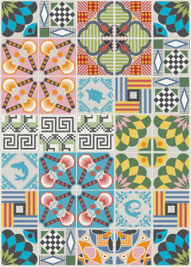 traditional Italian tiles combined with graphic imagery